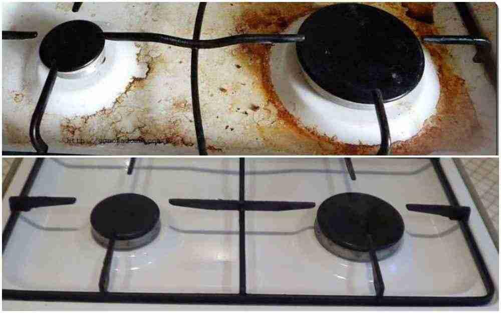 Как отмыть застарелые грязные пятна со старой плиты?
