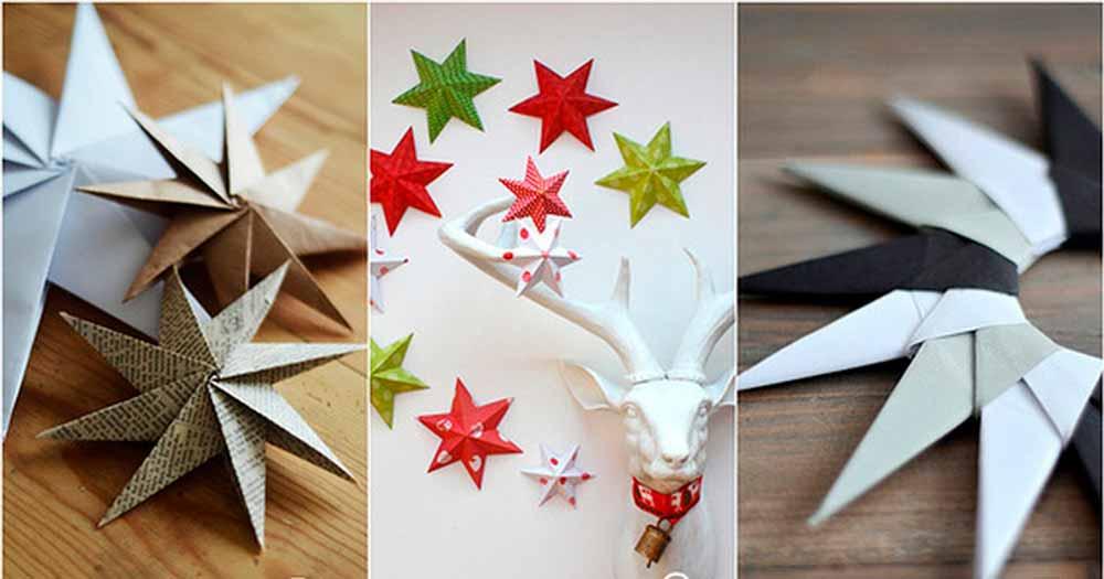 Бумажные звёзды- украшения в домашних условиях