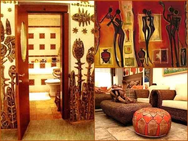 Африканский стиль и этнические мотивы в интерьере гостиной