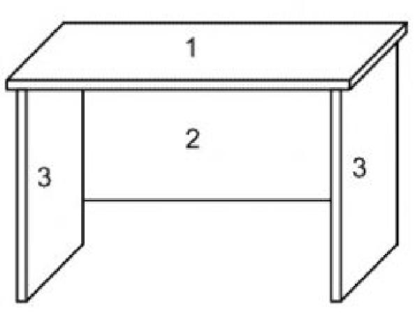 Фанерный столик: 1 – крышка; 2 – внутренняя стенка; 3 – боковые (торцевые) стенки.