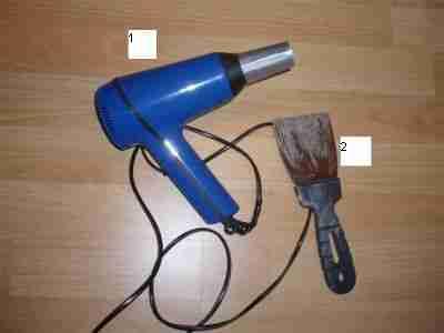 Инструменты для работы, фен и шпатель
