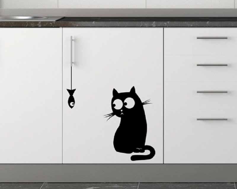 Кот на кухню - наклейка виниловая