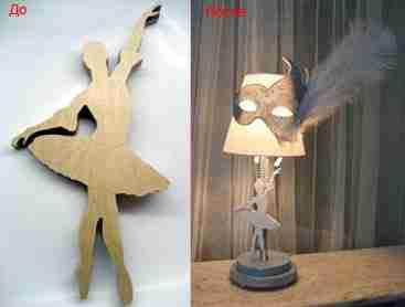 На фото – фанерная игрушка в роли элемента светильника.