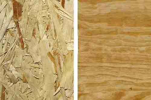 На фото представлены OSB плита (слева) и фанерный лист.