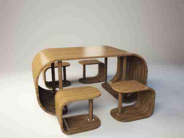 Необычная мебель из гнутой фанеры