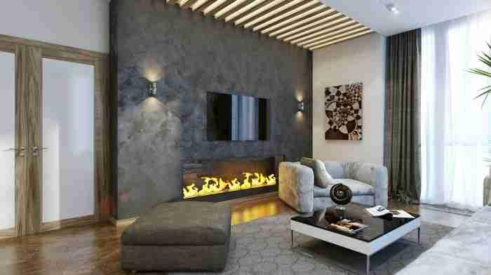 Оштукатуренная каминная зона в гостиной комнате