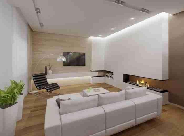 Освещение гостиной комнаты с разных источников света