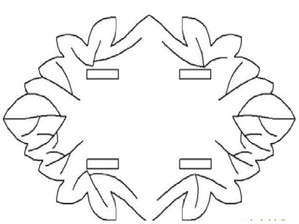 Подставка-основание салфетницы с технологическими прорезями для крепления вертикальных деталей, в форме виноградных листьев