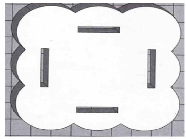 Подставка, с отверстиями под крепление боковых стенок вазы