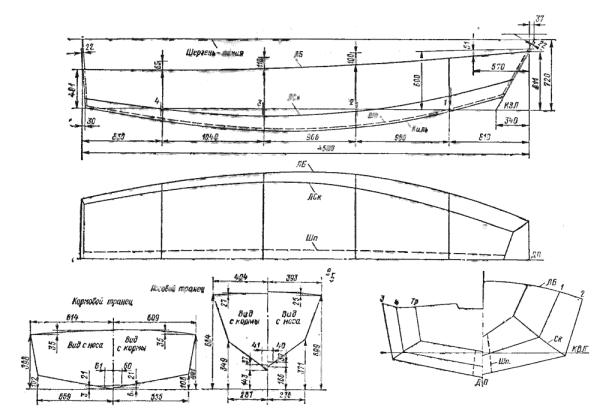 Размеры транцев и теоретический чертеж яхты