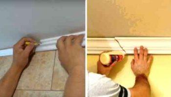 Как стыковать потолочный плинтус без перекосов