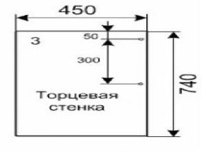 Торцевая стенка (2 листа) – 450 х 740 х 16 (мм)