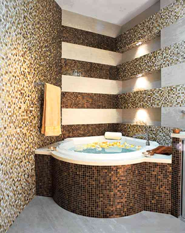 Как красиво сочетать плитку и мозаику в дизайне ванной комнаты