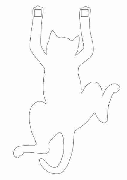 Выкройка кота, по которой, используя чертежные программы легко сделать своими руками фанерную заготовку любого размера, для ее дальнейшей обработки (например, покрыть монтажной пеной и покрасить в черную краску).